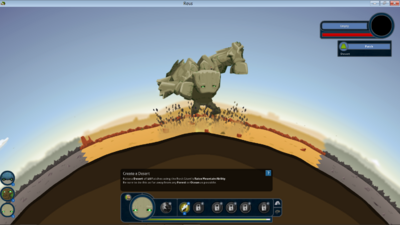 Rock giant creating a desert biome.